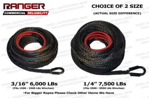 """Ranger 6,000 LBs 3//16/"""" x 50/' Dyneema Synthetic Winch Rope 5 MM x 15 M for ATV Wi"""