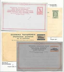 Greece covers 1901-1927 4 stationery PCs not sent 1 with SPECIMEN ovpt VF