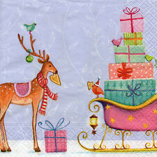 4 Servietten Motivservietten Weihnachten Rentier mit Schlitten (1219)