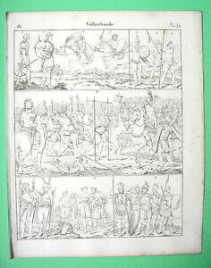 ROMAN-SOLDIERS-amp-European-Allies-March-of-Captives-1825-Antique-Print