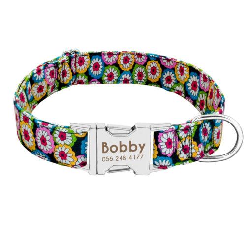 Nylon Dog Collar Personalized Pet Nameplate Custom ID Collar Tag Small Large