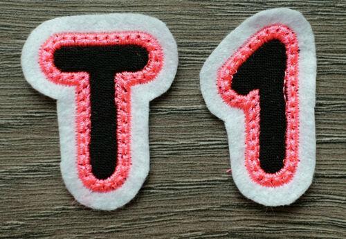 Buchstaben Zahlen # Name Aufbügler Aufnäher Bügel Applikation Patch Neon Pink