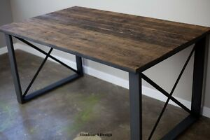 Details About Dining Table Desk Vintage Mid Century Reclaimed Wood Urban Rustic