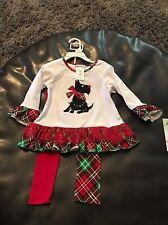 New Christmas Scotty Dog Plaid Shirt Pants Bonnie Jean 24 Months
