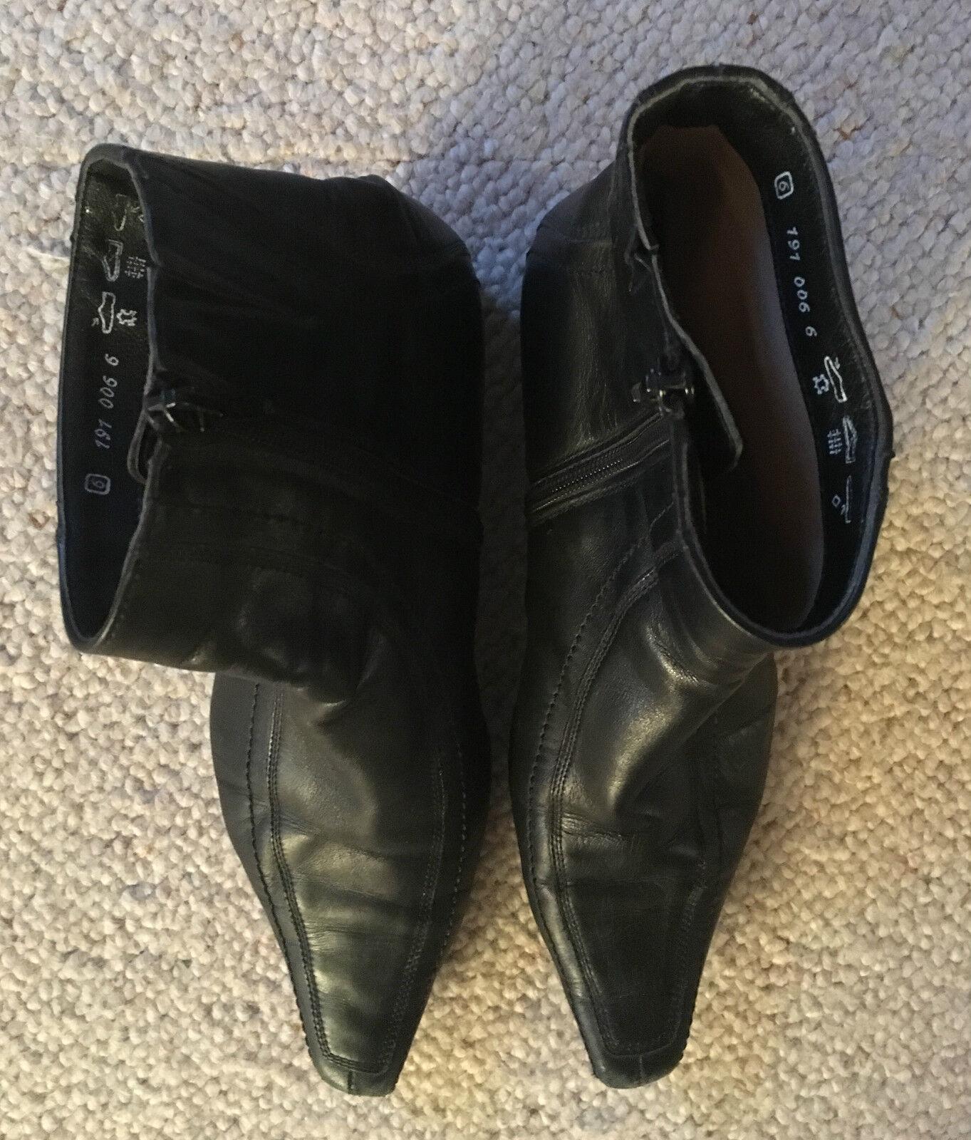K + s shoes zapatos señora botas botín cuero liso negro Gr. 6/39