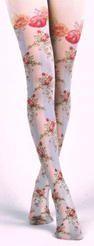 Victoriana Rose Lattice Design Opaque Tights Lolita Steampunk Harajuku Gothic