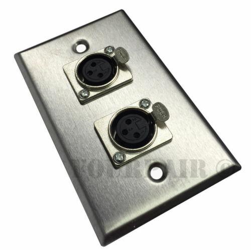 2-Port Dual Socket XLR Female Stainless Steel Microphone Mic Wall Plate 3 Pack