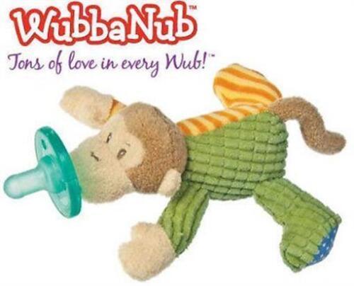 WubbaNub Infant Baby Soothie Pacifier Mango Monkey Toy Binkie Stuffed Animal
