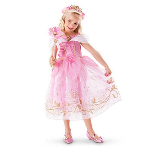 Kids Girls Princess Costume Fairytale Dress Up Belle Cinderella Aurora Rapunzel