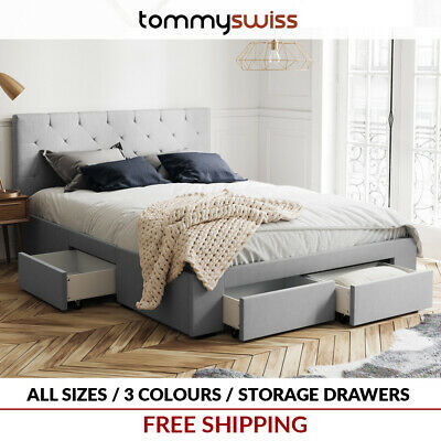 Fabric Storage Bed Frame With 4 Drawer, Queen Storage Bed With 4 Drawers