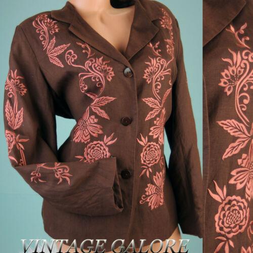 VTG Victor Costa Brown Embroidered Floral Cocktail long sleeve jacket top Sz L