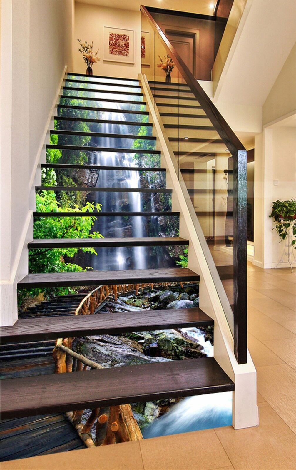 3D Stream Bridge 3 Stair Risers Decoration Photo Mural Vinyl Decal Wallpaper CA
