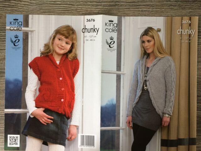 "King Cole Knitting Pattern: Ladies & Girls Chunky Cardigans, 24-46"" 3676"