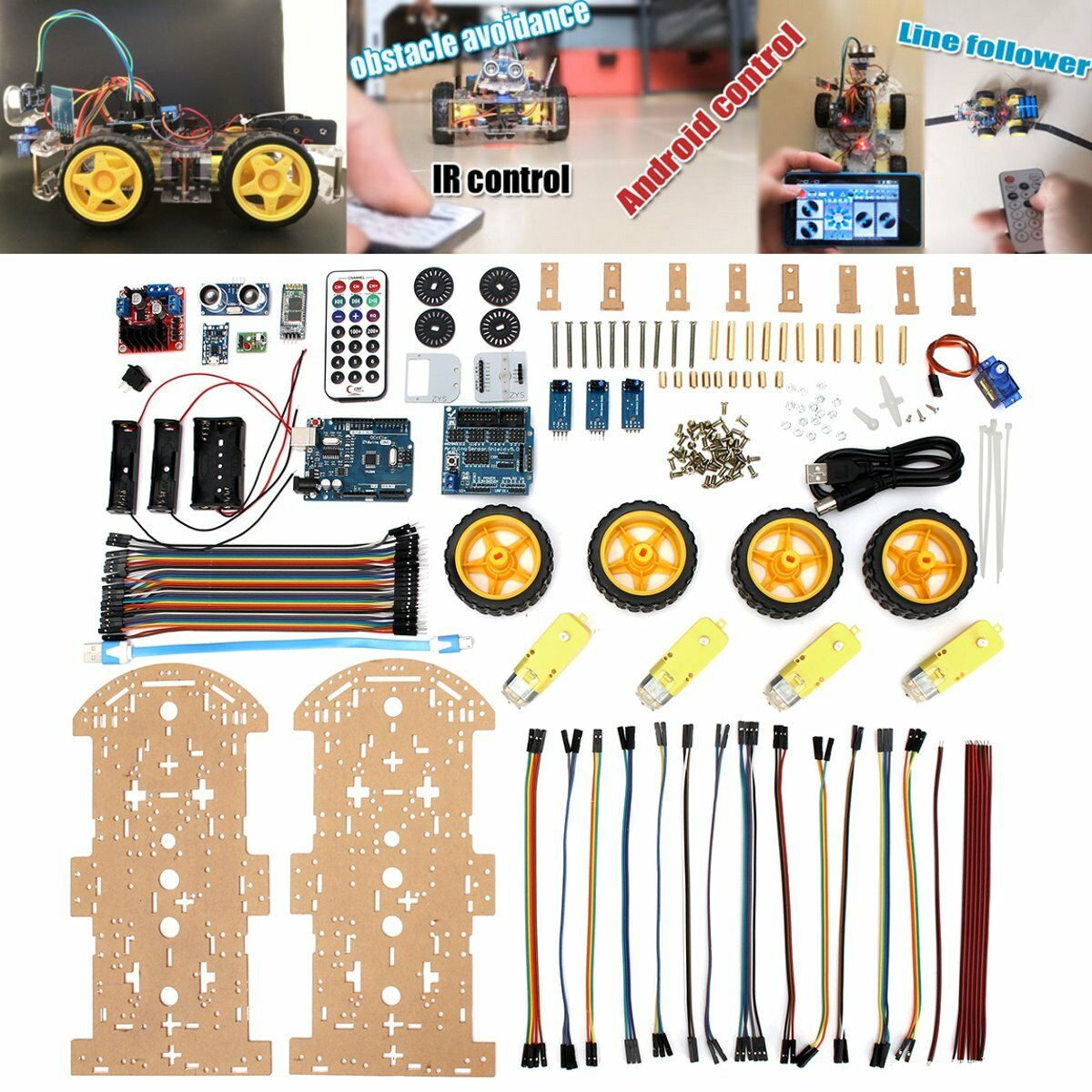 4WD Robot auto Kit blutooth IR Obstacle  Avoid Line Follow L298N for Arduino US  vendita calda