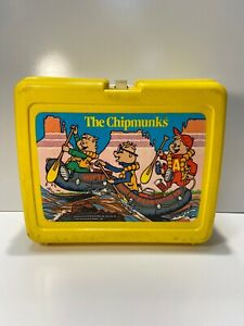 Alvin-amp-The-Chipmunks-Vintage-80s-1984-Thermos-Made-USA-Plastic-School-Lunchbox