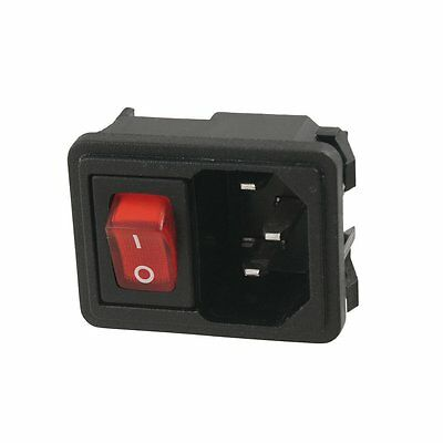 Black 3 Pin Fused Power Socket w Switch 10A AC 250V Endoz