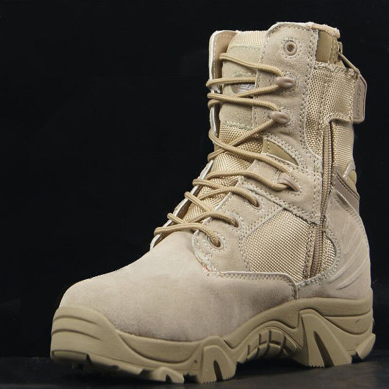 Mens High Top Combat Military Ankle Boots Tactial Hiking Outdoor shoes Non-slip