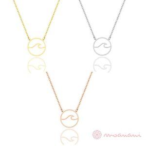 Halskette-Halsketten-Welle-Ozean-Anhaenger-Rund-Gold-Silber-Rosegold-Edelstahl