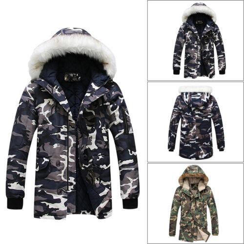 piel de Parka abrigo Abrigo chaqueta de camuflaje hombre cálido algodón para invierno acolchado espesar capucha de de con de PxYYa0pCwq