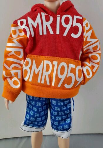 New Ken BMR1959 Red Orange Logo Pullover Hoodie Sweater Shirt Shorts Fashion