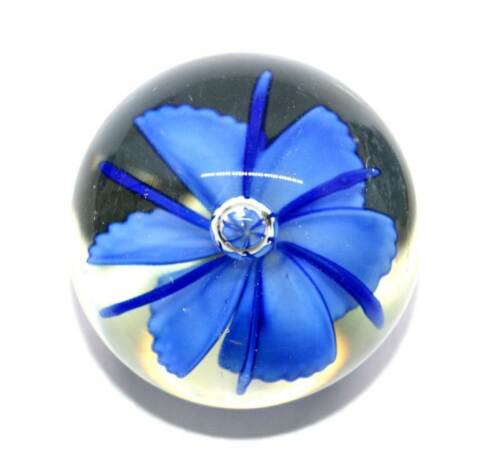 Vintage solid glass blue flower controlled bubble paperweight