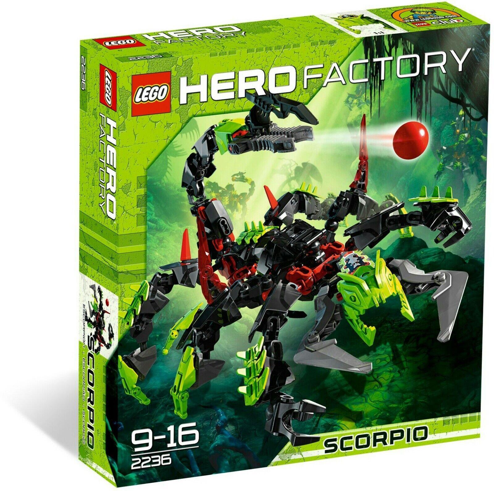 LEGO  Hero Factory 2236 SCORPIO RARA smobilizzato ✔ NUOVO CON SCATOLA NUOVO SIGILLATO ✔ Fast P & P ✔  grandi risparmi