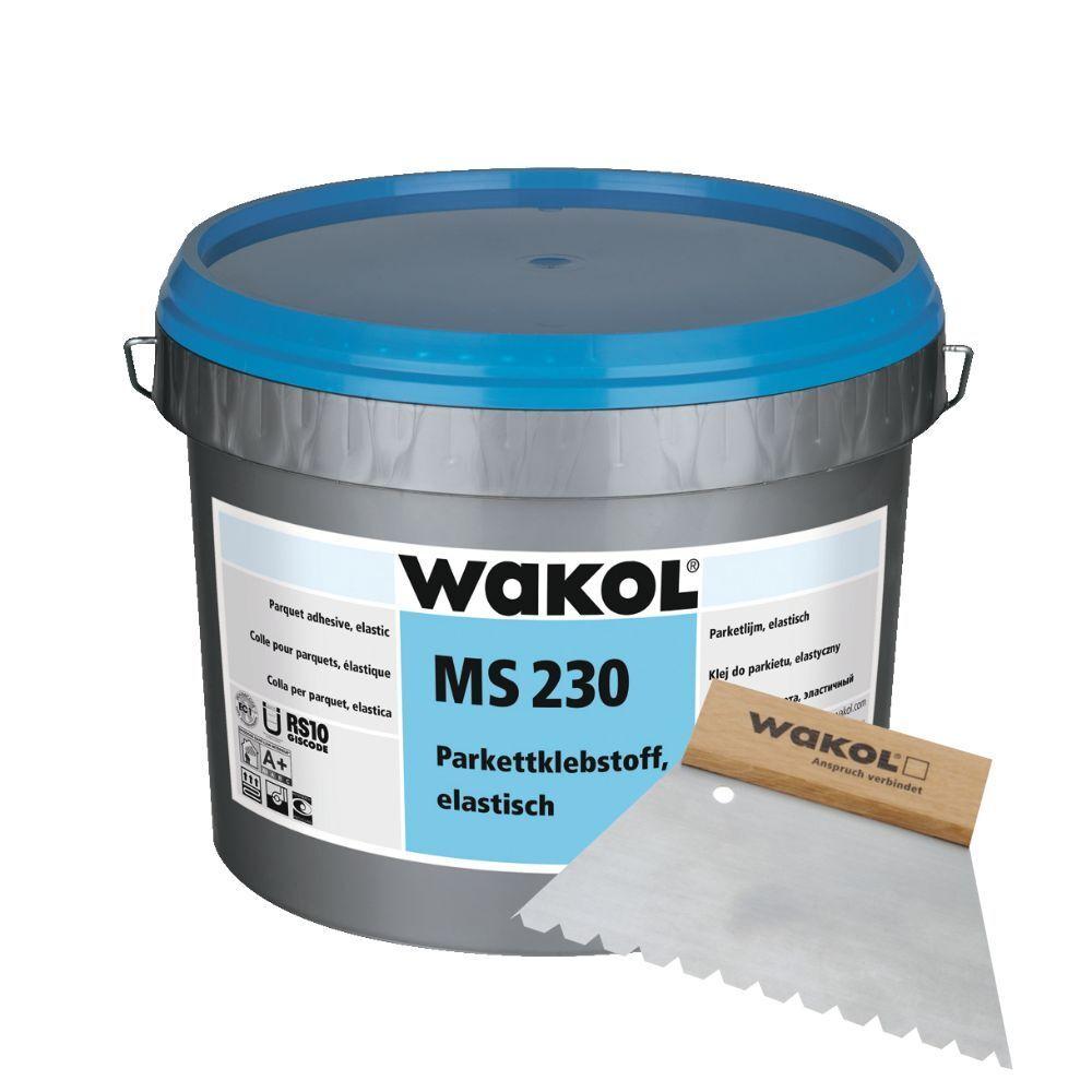 WAKOL MS 230 Parkettklebstoff elastisch (18 kg) inkl. Wakol Zahnspachtel