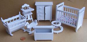 1:12th Escala 7 Piezas Blanco Infantil Juego Miniatura Para Casa De Muñecas