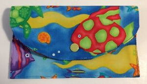 Handmade-Fabric-Bags-Clutch-with-Snap-Closer-4-034-X6-5-034-2-Inner-Pockets-Sea-amp-Fish