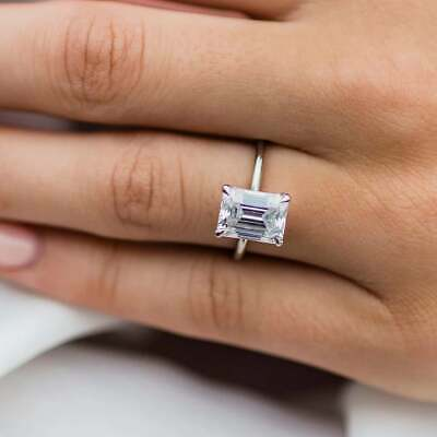 2.35Ct Emerald Cut Diamond Solitaire Engagement Wedding Ring 14K White Gold Over