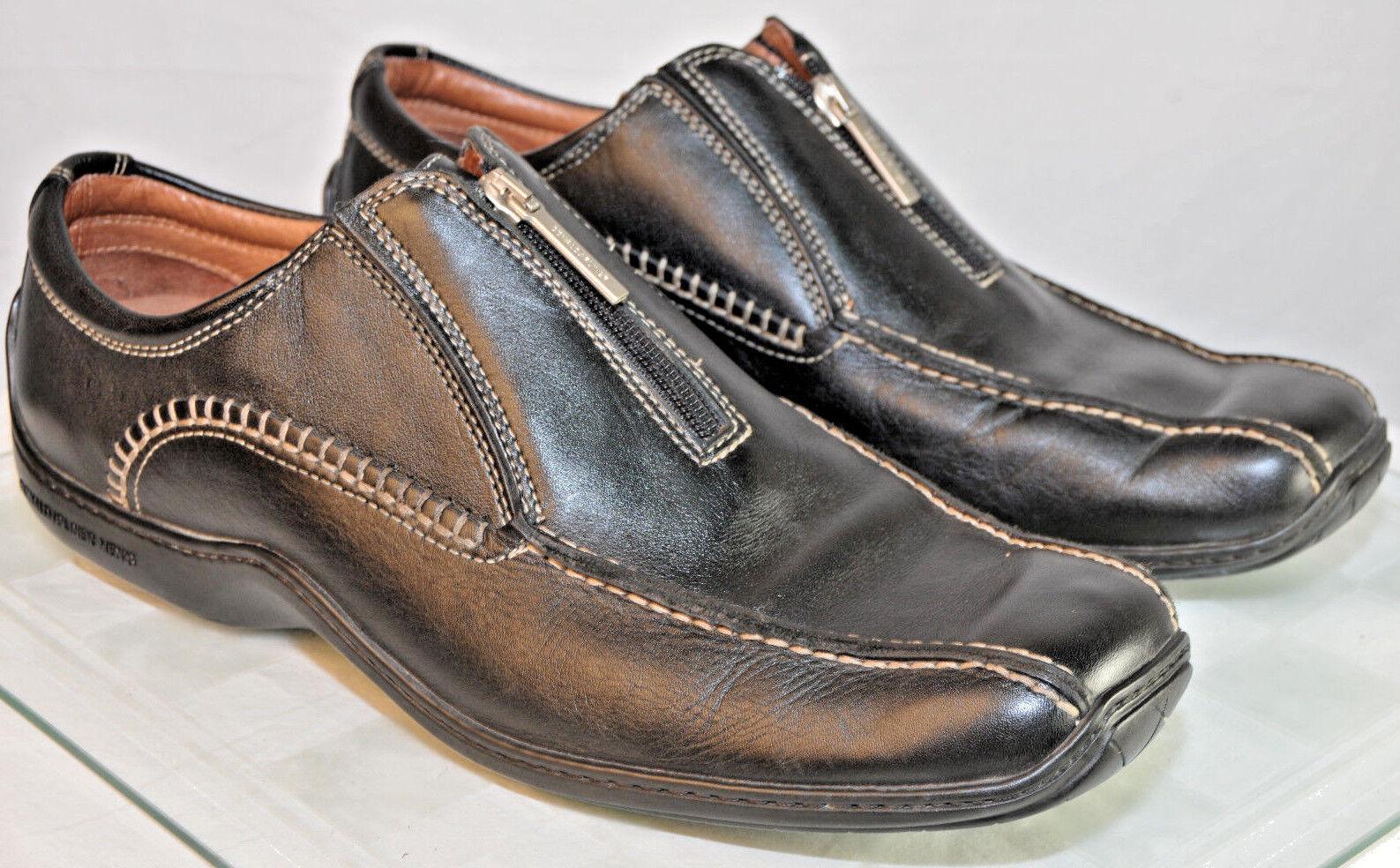 f341f97843 DONALD J Black Ernie Driving Moccasin Loafer Men 10.5 M Top Bike Toe Zip  PLINER nrkusq1656-new shoes
