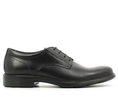 Dettagli su GEOX Scarpe da uomo eleganti nere in pelle Nero Derby Calzature classiche 42 43