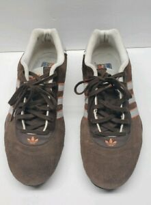 TEAM ADIDAS GOODYEAR Driving Shoes Men's Size 10 Brown Suede w Red & White