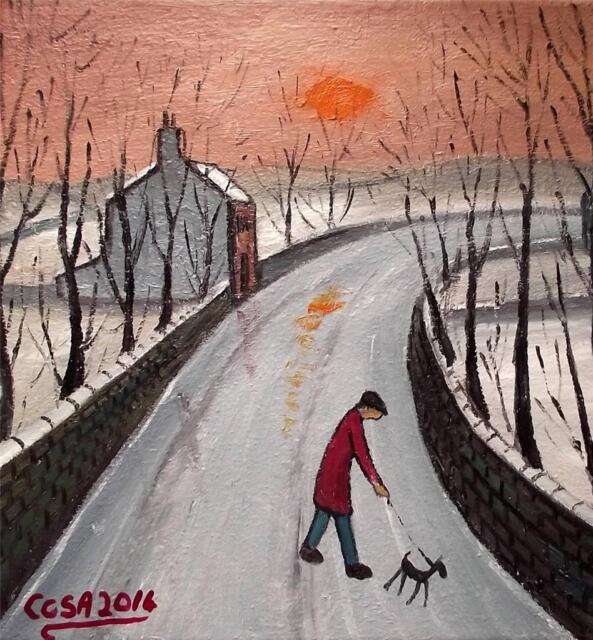 Snowy Sunset Stroll : Original Northern Art Oil Painting on Canvas  COSA