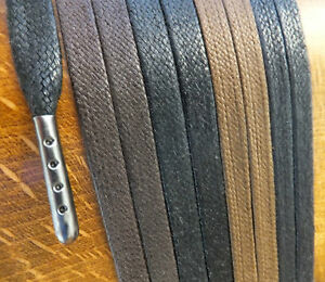 Metal-Tipped-FLAT-WAXED-COTTON-SHOELACES-40cm-to-200cm-boot-hiking-laces