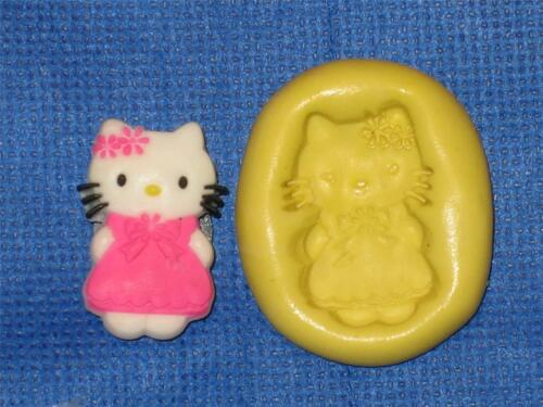 Hello Kitty W Dress Push Mold Food Safe Silicone #843 Cake Chocolate Resin Clay