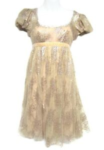 MARCHESA-Notte-Champagne-Blush-Mauve-Pink-Floral-Lace-Cap-Puff-Sleeve-Dress