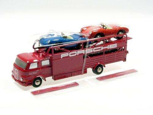 Schuco Piccolo Man 415 renntransporter con tres porsche spyder # 450589600