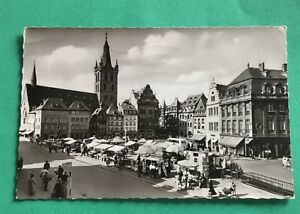 Germany-Trier-Mosel-Main-Market-with-St-Gangolph-1959-Real-Photo-Postcard