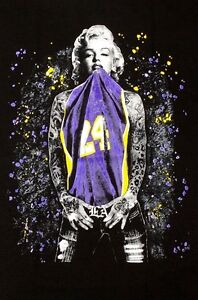 promo code a7d05 0f9fe Details about Marilyn Monroe Kobe Bryant Los Angeles LA Lakers Men's Black  T-Shirt Tee S-2XL