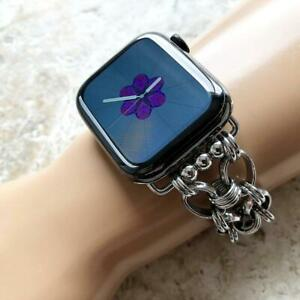 Silver Color Concave Chain Link Band for Apple 38 40 42mm 44mm Watch All Series