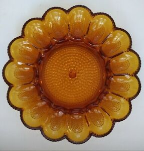 Vintage-Amber-Indiana-Glass-Co-Hobnail-Deviled-Egg-Plate-BEAUTIFUL-CONDITION