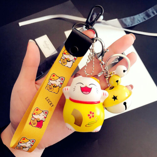 Cartoon Lucky Cat Keychain Women Cat Car Key Ring Charm Bag Pendant Key Chain