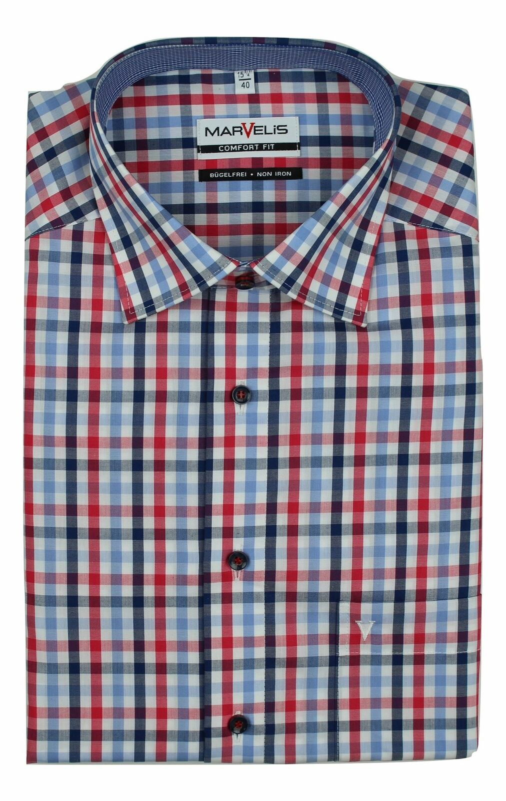 Red Mix Bold Check Spread Collar