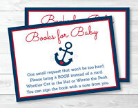 Nautical Anchor Blue & Red Printable Baby Shower Book Request Cards