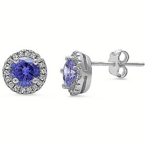 2-ct-Tanzanite-amp-White-Sapphire-Halo-Stud-Earrings-in-Solid-Sterling-Silver