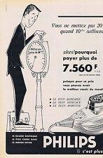PUBLICITE ADVERTISING 064 1958 PHILIPS le rasoir électrique le plus vendu