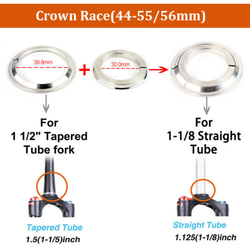 1PC 34//44//44-55//44-56mm Headset Double Bearing MTB Bike Straight//Tapered Fork