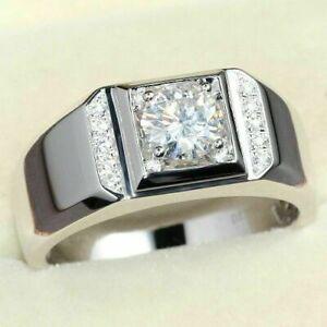 Engagement Ring 14K White Gold Men/'s Ring 2.40 Ct Round Cut Diamond Wedding Band