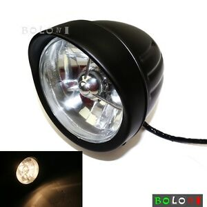 For Harley Davidson Matte Black Bulb Front Headlamp Headlight Lamps Chopper Dyna
